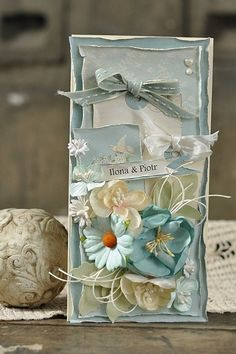 A blue romantic card by Ewa using the Paris Flea Market collection