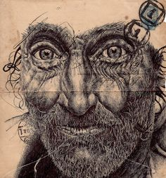 Artist - Mark Powell The artists particularity is to draw portraits of the elderly on the back of old envelopes. All of his marvellously detailed portraits are drawn with a Bic Biro pen. Biro Drawing, Biro Art, Drawing Faces, Mark Powell, Envelope Art, Portraits, Portrait Ideas, Ap Art, Illustration Sketches