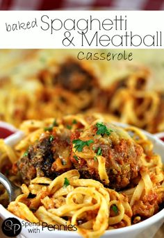 Baked Spaghetti and Meatball Casserole - this looks delicious!