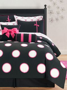 Pink & Black Comforter Set <3 #polkadot #bows