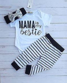 Baby Girl Mama is My Bestie Outfit 9-12 Months headband Set