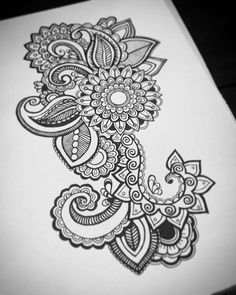 Mandala Tattoo Sleeve, Arm Sleeve Tattoos, Sleeve Tattoos For Women, Henna Drawings, Zentangle Drawings, Pencil Art Drawings, Doodle Art Designs, Tattoo Designs Men, Mehndi Designs