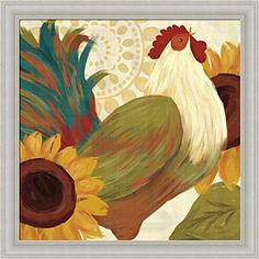 Spice Roosters I Veronique Charron Sunflowers Painting Art Print Framed Picture Wall Dcor Artwork ** More info could be found at the image url.