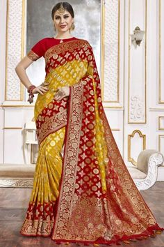 Yellow And Red viscose saree with red viscose blouse. Embellished with woven zari work. Saree with Key Hole Neck, Half Sleeve. It comes with unstitch blouse, it can be stitched to 32 to 58 sizes. #weddingsaree #weddingwearsaree #festivalwear