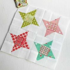 "The Patchsmith: Patchsmith Sampler Block 2 - Guiding Star and the HST Block 2 'Guiding Star' is made up of four 'Friendship Stars'. This block uses 1½"" half-square-triangles (HSTs) making it an ideal block for experienced patchers. However, don't be put off if you are new to patchwork – I have a helpful tip for making those small HSTs."