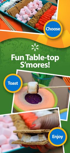 Add some hands-on fun to you next summer party with a table-top s'mores station! See how easy it is and get more tips on setting up a festive dessert table for you next summer get-together.