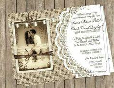 Burlap and Lace Rustic Wedding Invitation – Printable Rustic Photo Invite 5x7