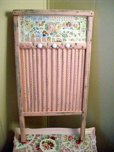 Love this broken china wash board so clever and cute