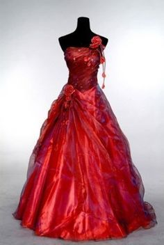 Red Stock Prom Dress Party Pageant Dresses Wedding Gowns Formal Evening Gowns #Handmade #ALine #Formal