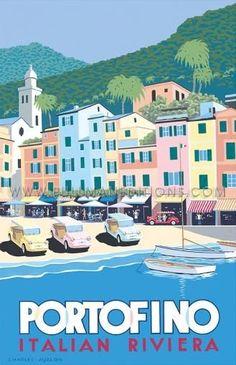 Portofino, Italy _________________________ #Vintage #Travel #Poster
