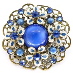 Vintage Art Deco Czech Blue & White Flower Ornate Filigree Painted Brooch