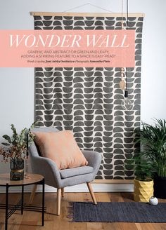 We love it that magazine chose our Bowls fabric in graphite to feature in their fun wallhanging DIY. We love the idea of adding pattern to a wall without having to commit to wallpaper. Fabric Wall Decor, Cool Wall Decor, Office Wall Decor, Diy Wall Art, Room Decor, Fabric Walls, Hanging Fabric On Walls, Fabric Wall Hangings, Home Yoga Room