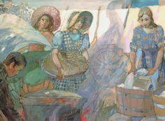 Wash Day on the Plains, by Minerva K. Teichert. 1938.