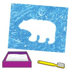 cut a simple polar bear shape from newsprint. Then spritz the newsprint with water and smooth it onto a sheet of fingerpainting paper. fingerpaint blue & spatter the picture with white paint to resemble a snowstorm. Preschool Arts And Crafts, Kindergarten Art Projects, Kindergarten Worksheets, Winter Crafts For Kids, Winter Kids, Preschool Winter, Artic Animals, Penguins And Polar Bears, Bear Crafts