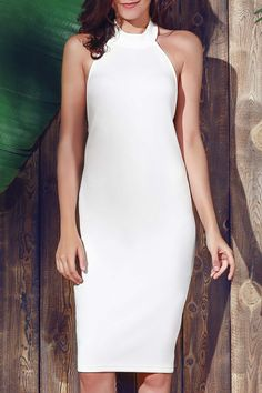 Halter Sleeveless Sheath Midi Dress WHITE: Bodycon Dresses | ZAFUL