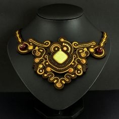 Soutache Necklace Naga Emas will add glamour to by OzdobyZiemi