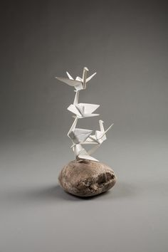 Available for sale from Cinnabar, Kevin Box, Rising Peace (mini) Painted cast stainless steel on stone, 16 × 8 × 8 in Origami, Imagination Art, Crafts For Kids, Arts And Crafts, Paper Bowls, Clay Birds, Small Sculptures, Sculpture Clay, Small Boxes