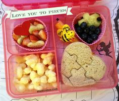 Preschool valentines bento lunch idea puzzle sandwich