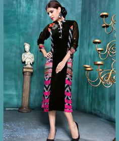 Shop Black Georgette Readymade Kurti 71392 online at best price from vast collection of designer kurti at Indianclothstore.com.