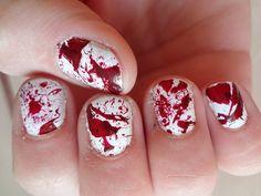 Blood Splatter - The Hottest DIY Halloween Nail Art