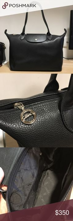 NWOT Longchamp Le Pliage All Leather Calfskin Tote Black full grain leather tote with internal compartments. Come with key strap, and in dust bag. Dimensions are 15x5.5x9. Longchamp Bags