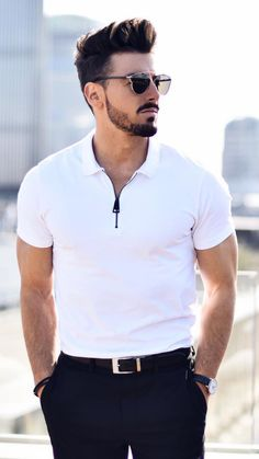 White Polo Shirt Outfit Ideas For Men White Polo Shirt Outfit, Polo Shirt Outfits, Polo Outfit, Polo Shirt Women, Polo T Shirts, Polo Shirt Style, Men's Fashion, Mens Fashion Blog, Stylish Men