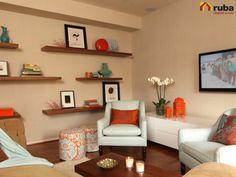 Un color que a muchos nos da miedo pero que sin duda nos da resultados fantasticos es el naranja, atrevete a utilizarlo en tu sala #HabitacióRuba Y encuentra más ideas de como emplear el color http://pasion-deco.com/salas-decoradas-con-naranja/