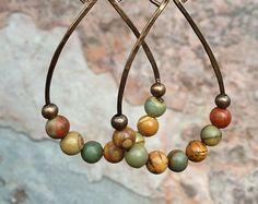 Piedra de Cobre aro pendientes joyas boho por RusticaJewelry