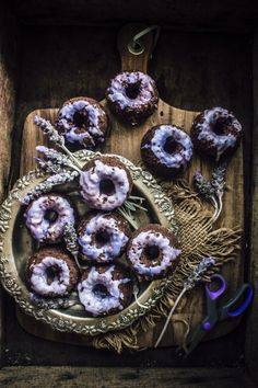 Dark Chocolate Mini Cakes With Lavender Glaze