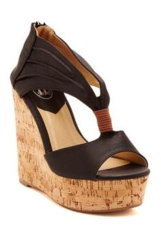 a9a0ee39892bbd Pleated Wedge Sandal by Carrini on  HauteLook Cute Heels