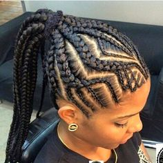 Want a protective hairstyle that's full of beautiful cornrows and Ghana braids? Turn one of our favorite fishbone braided hairstyles your latest look. Braided Cornrow Hairstyles, Ghana Braids Hairstyles, Braided Hairstyles For Black Women, Braided Hairstyles For Wedding, African Hairstyles, Diy Hairstyles, Cornrows Ponytail, Teenage Hairstyles, Goddess Hairstyles