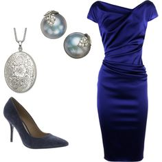 Blue, created by bulletecho on Polyvore #silver #blue