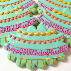 Birthday Buntings #thedoughmestichousewife #doughmestichousewife #decoratedcookies