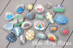 to Make Bible Story Stones - Intentional By Grace How to make Bible Story Stones for your toddler or preschooler.How to make Bible Story Stones for your toddler or preschooler. Bible Story Crafts, Bible School Crafts, Bible Crafts For Kids, Bible Study For Kids, Bible Lessons For Kids, Vbs Crafts, Sunday School Crafts, Bible Stories, Preschool Bible Crafts