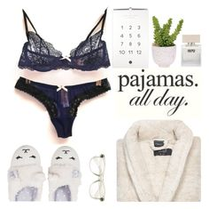 """""""Pajamas all day"""" by punnky ❤ liked on Polyvore featuring MAEVA, Lux-Art Silks, Kassatex and Bella Freud"""