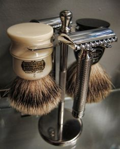 A Safety Razor, brush and a round bar of soap in a cup to shave! Another Pinner wrote...   Dad used one of these to soap up his face for a close shave. I loved watching him when I was little.