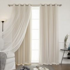 Shop for Aurora Home Mix & Match Blackout Tulle Lace Bronze Grommet 4 Piece Curtain Panel Set. Get free delivery On EVERYTHING* Overstock - Your Online Home Decor Outlet Store! Get in rewards with Club O! Tulle Curtains, Home Curtains, Grommet Curtains, Blackout Curtains, Blackout Panels, Thermal Curtains, Beige Curtains, Bed Drapes, Damask Curtains