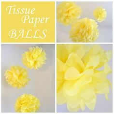 Yellow tissue paper balls, these would look great in my bedroom.