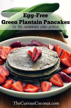 This recipe is for egg-free green plantain pancakes that you can eat while on the autoimmune paleo protocol. It is an adaptation of my plantain flour pancake recipe from last year. I've been making these at least once a week since starting the AIP -- my husband and I both love them! And, for t