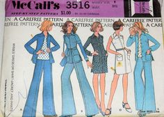 McCall's 3516 1970's Misses Dress or Shirt Jacket and Pants Size 8 by SewWithLisa on Etsy