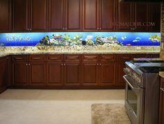 Unique Fish Tanks in kitchen   Kitchen Aquarium Reef Scene - Marine / Underwater / Ocean / Reef ...