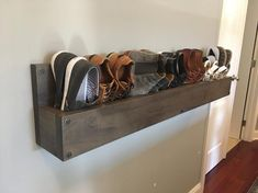 Handmade Reclaimed Cubbies Wood Shoe Stand / Rack / Organizer with Pipe Stand Legs Wall Shoe Rack, Wall Mounted Shoe Rack, Diy Shoe Rack, Shoe Wall, Shoe Racks, Diy Storage, Storage Spaces, Shoes Stand, Products