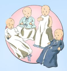 1930s Original Vintage Vogue Sewing Pattern 3035 Sweet Infants Layette Pattern #Vogue #LayettePattern