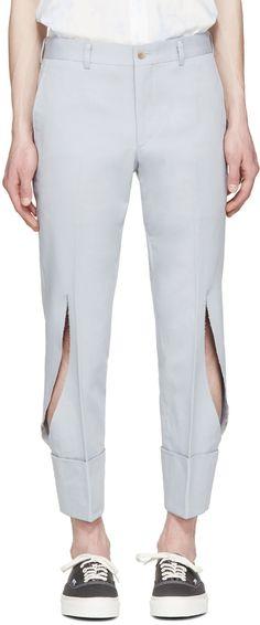 Comme des Garçons Homme Plus: Grey Twill Slit Trousers | SSENSE