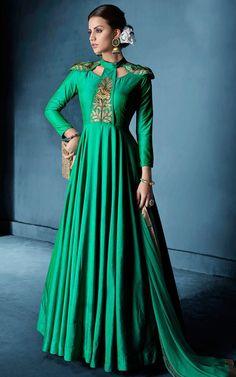 Buy Green Embroidered Party Anarkali Suit Online | Sareeslane.com