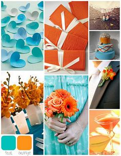 teal and orange wedding colors