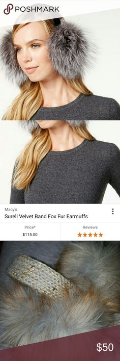 Faux fur earmuff w/Knit Bling Band Featuring an elegant velvet band, these plush rabbit fur muffs keep your ears supremely warm without damaging your hairdo. From Surell. surell Accessories Scarves & Wraps