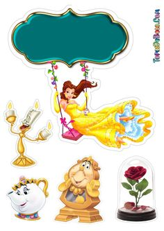 Beauty And The Beast Crafts, Beauty And The Beast Party, Printable Stickers, Cute Stickers, Happy Birthday Banner Printable, Red Party Decorations, Princess Cake Toppers, Cartoon Clip, Princesas Disney