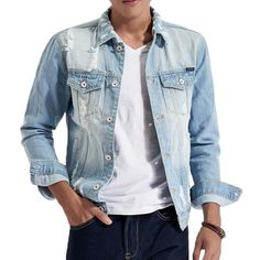Light Blue Autumn Worn Ripped Denim Chest Pockets Washed Jean Jacket for Men