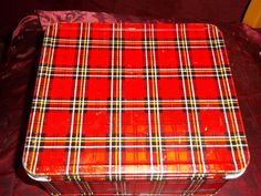 Vintage Red Plaid Metal lunchbox with Thermos